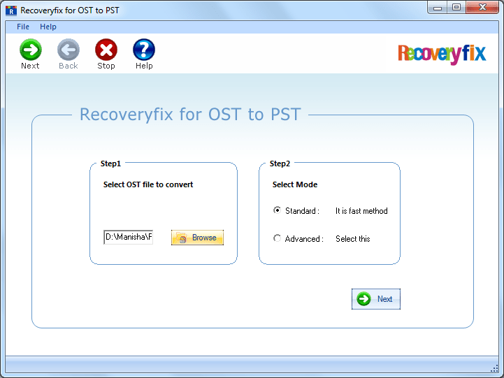 Select OST file and OST file scanning mode
