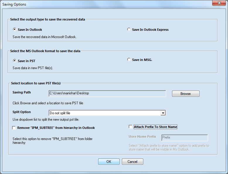 Conversion options in OST to PST tool