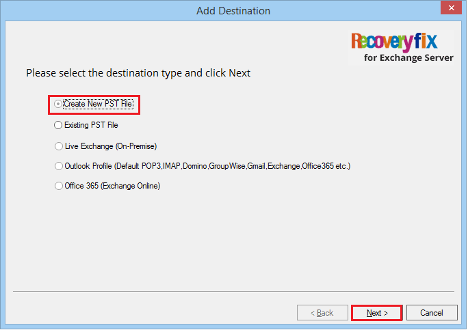 Choose the first option of 'create new PST file'
