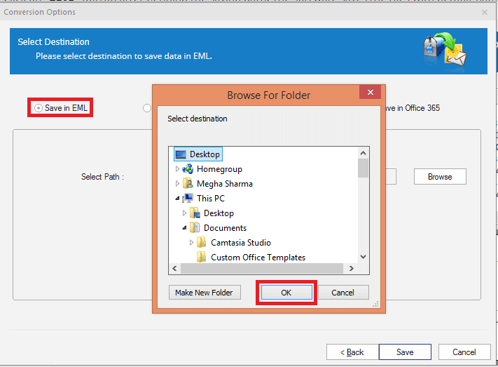 select destination folder to save