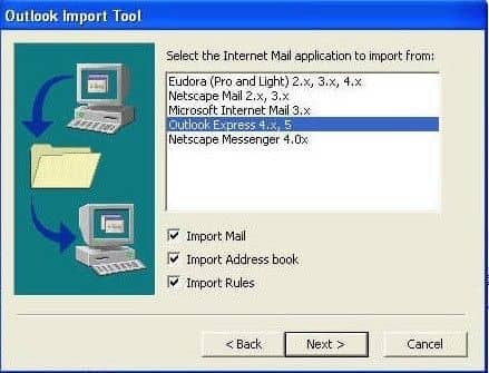 Select Outlook Express & Import Mail