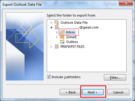 Select the account to export file