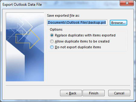 Select a location for saving the exported files