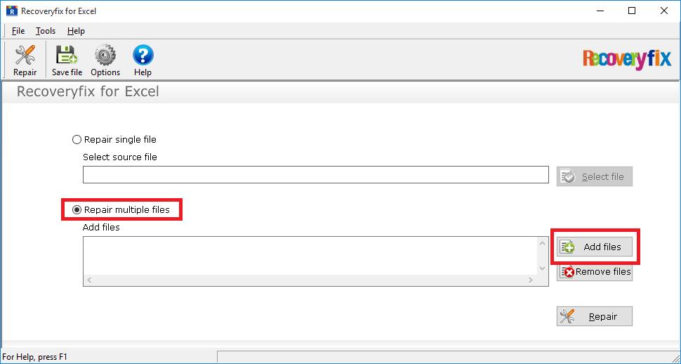 Select Repair multiple files