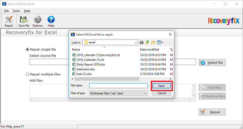 Open the location and select the file
