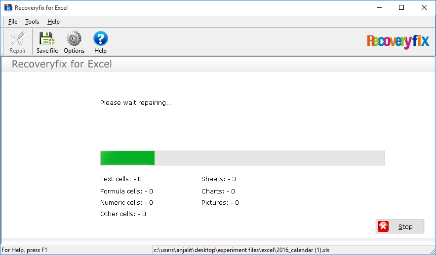 Repairing the corrupt Excel file